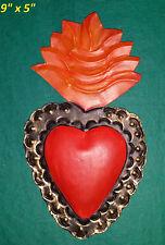 3D Perpetuo Socorro Sacred Heart Mexican Handmade Painted Tin Milagro Art 9x5x.5