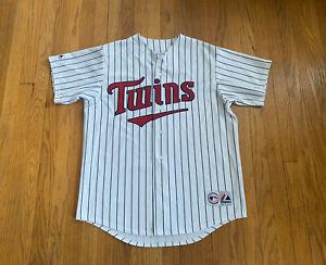 Minnesota Twins Joe Mauer Vintage Majestic Jersey Stitched Mens L EUC Rare MLB