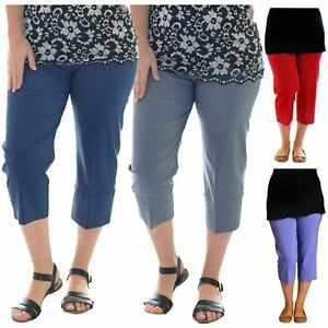 Ambitieux Femmes Plus Taille 3/4 Longueur Raccourcie Élastique Extensible Capri Pantalon Shorts-afficher Le Titre D'origine Jolie Et ColoréE