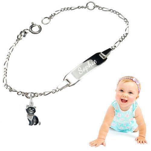 Inkl.Gravur-Neu Tauf-Baby Armband mit  Anhänger Katze 925er Sterling Silber