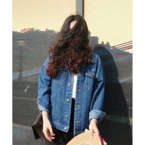 Casual Womens Harajuku Denim Oversized Vintage Jeans Jacket Boyfriend Loose Coat