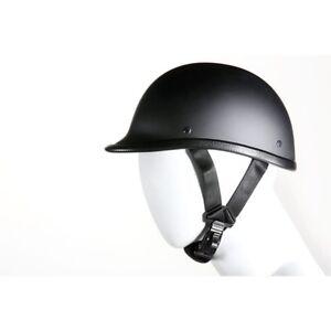 New Black German Novelty Flat Motorcycle Half Helmet Cruiser Biker M L XL