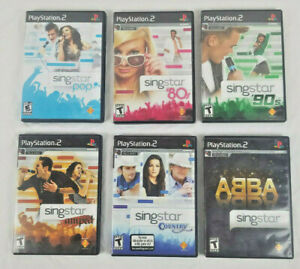 Lot of Singstar PS2 Games Pop 80s 90s Amped Country Abba Complete with Booklets