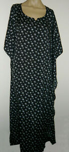 Long-Black-White-Kaftan-Cover-Up-Fits-20-22-24-Floral-Print-Lounge-Beach-Dress