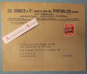 PONTARLIER-Doubs-E-DUBIED-decolletage-Machines-a-tricoter-cachet-postal-ALBERT