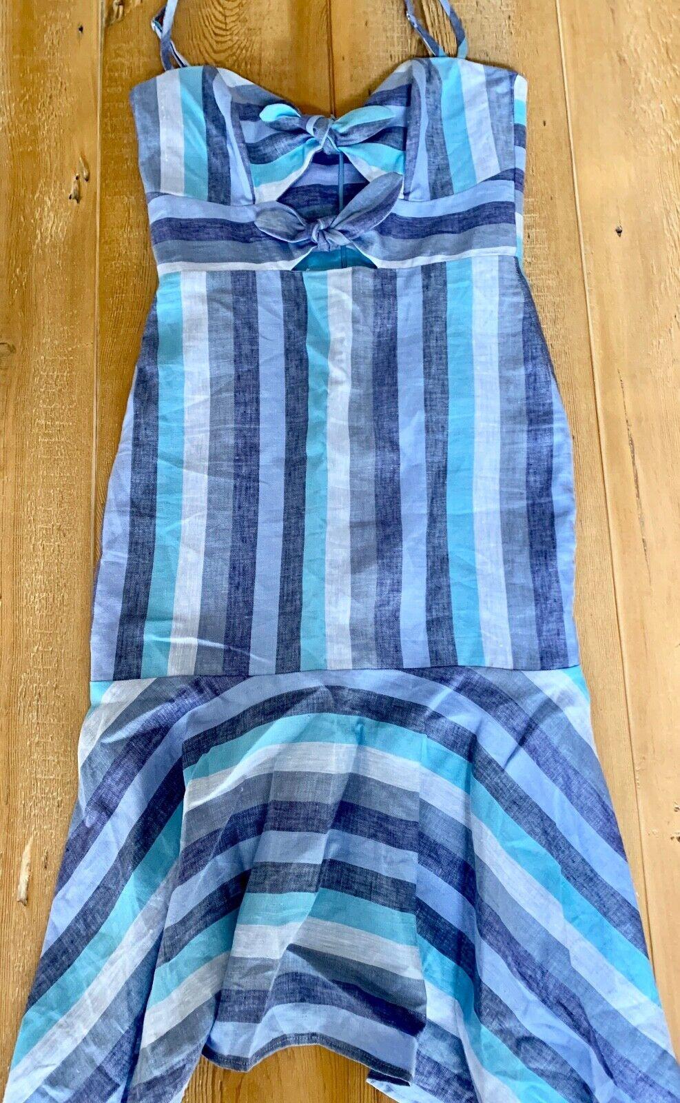 Karina Grimaldi Nelia Blau Stripe Dress, NWT, Größe S (2-4)