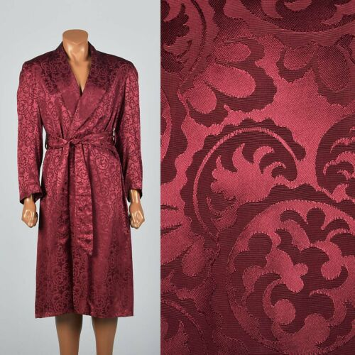 1950s Deadstock Rayon Robe Mens Bathrobe Burgundy