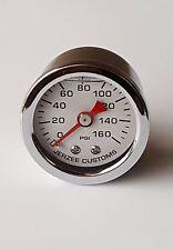 Liquid Filled Oil Pressure Gauge 0-160 psi - WHITE face -Harley Davidson