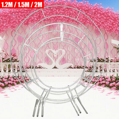 "Round Circle Wedding Arch Backdrop Gold Silver Wreath Hoop Centerpiece 24/""-84/"""