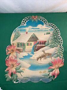 Vintage West Germany Embossed Die Cut Poinsettia Water Grist Mill Deer Calendar