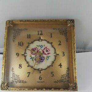 Vintage clock needlepoint dial for parts or restore, made in England !