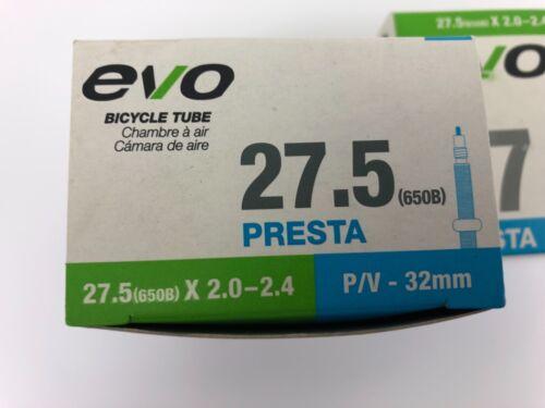 "27.5/"" x 2.0//2.4 32mm Threaded Presta Valve 650b EVO Mountain Bike Tube 2PK"