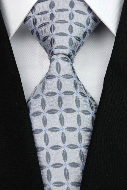 NT120 New Silk Patterns Gray Blue JACQUARD WOVEN Silk Men's Tie Necktie