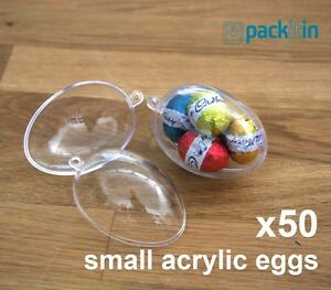 x50-qty-SMALL-6cm-EGGS-BAUBLES-CLEAR-ACRYLIC-PLASTIC-EGG-TWO-PIECE-easter