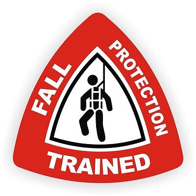 Fall Protection Trained Hard Hat StickerSafety DecalHarness Boom Label USA