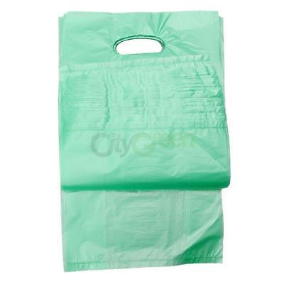 100Qty. Green Plastic T-Shirt Retail Shopping Bags w/ Handles Med 7x3x12