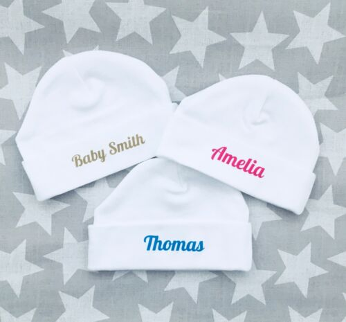 Pink beige ANY NAME baby shower PERSONALISED baby gift unisex baby hats blue