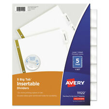 Avery 11122 5 Tab Big Tab Insertable Dividers Letter White New