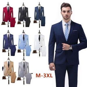 Mens-Two-Piece-Blazer-Suit-Business-Leisure-Wedding-Grooms-Jacket-Coat-And-Pants