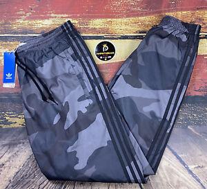 Nuevo Para Hombre L Adidas Camo Urbano Negro Gris Gimnasio Pantalones De Pista De Viento A Rayas Rompevientos Ebay