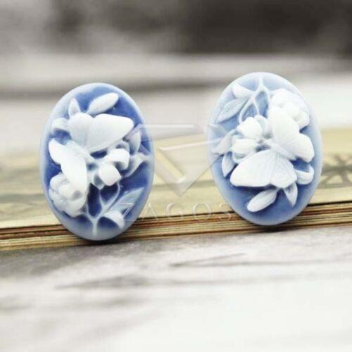 5Pcs Cameo Cabujón Flatback flor de joyería de mariposa de resina 23.5X17mm RB0524