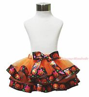 Halloween Pumpkin Orange Trimmed Tutu Dress Baby Girls Pettiskirt Skirt NB-8Year