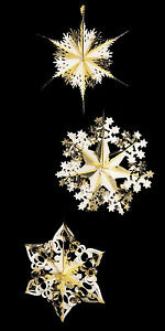 3-Foil-Starburst-Hanging-GOLD-Stars-Christmas-snowflake-Frozen-Party-Decoration