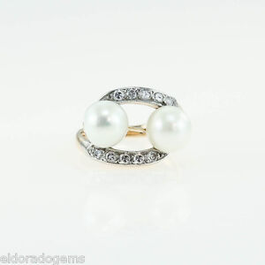 ANTIQUE 0 40 CT DIAMOND PEARL COCKTAIL RING 18K YELLOW GOLD 950PT PLATINUM  US4 5