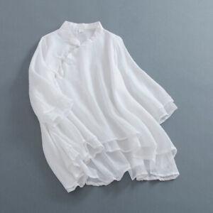0db79897ec51d Vintage Women Blouse Tops Cotton Linen Gauze Shirt Chinese Button ...