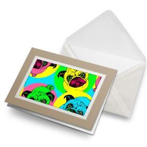 Greetings-Card-Biege-Cute-Funky-Pug-Dog-Pop-Art-Neon-8606