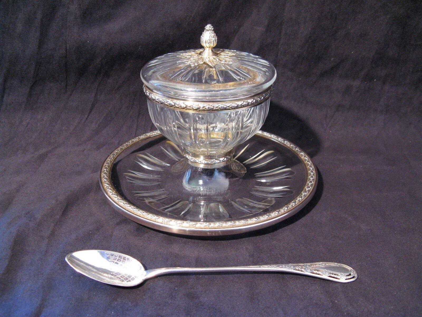 Coupe à caviar en cristal et plata poinçon minerve époque début XX ème siècle