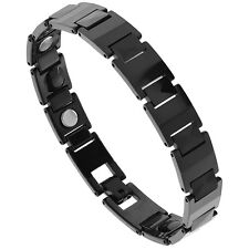 "8"" Tungsten Carbide Black Magnetic Bracelet w/ Faceted Hexagon Links"
