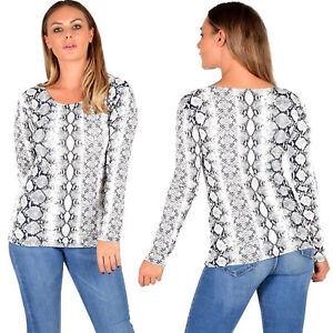 Women-039-s-Snake-Print-Top-Ladies-Long-Sleeve-Scoop-Neck-T-Shirt-Tops-Size-8-22