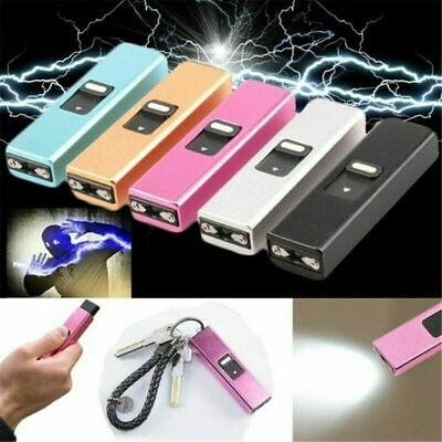 Mini Electric Shocker LED Flashlight Self-Defense Rechargeable Torch Key Chain