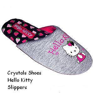 HELLO KITTY BRAND NEW GIRLS OR LADIES GREY STRAWBERRY DIP SLIPPERS SLIP ON MULES