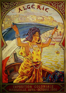 Marseilles-Algeria-Lady-Boat-1906-Tourism-Travel-Vintage-Poster-Repo-FREE-S-H
