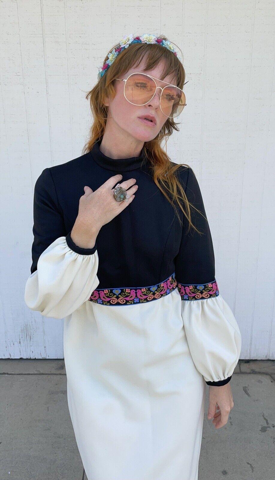 Vintage Fairycore Maxi Dress Hippie Clothes Puffy… - image 5