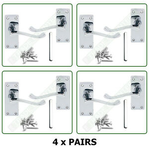 Internal Door Handles 4 X Pairs Lever Latch Scroll Set