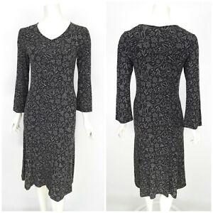 Womens-Gudrun-Sjoden-Long-Bodycon-Dress-Grey-Floral-Print-Modal-V-Neck-Size-S