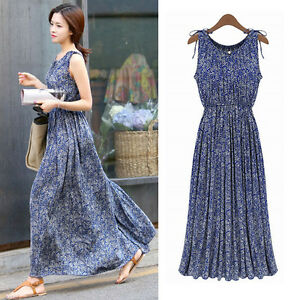 Womens-Bohemian-Full-Length-Sleeveless-Maxi-Blue-Floral-Cotton-Pleated-Dresses