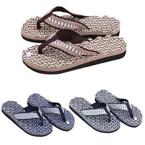 fce101ac5 Men Summer Soft Casual Flat Wedge Sandals Thong Flip Flops Massage ...