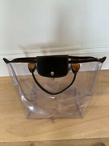 Longchamp-clear-vinyl-bag-with-brown-leather