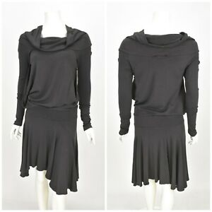 Womens-Amor-Plein-Sud-Dress-Grey-Wool-Blend-Cowl-Neck-Gothic-Size-42-UK14
