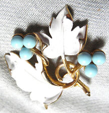 VINTAGE STUNNING GOLD TONE ENAMEL WITH BLUE LUCITE PIN-BROOCH~SIGNED: SARAH COV