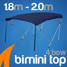 4 Bow 1.8-2.0m Blue Boat Bimini Top Canopy Cover w/ Rear Poles & Sock