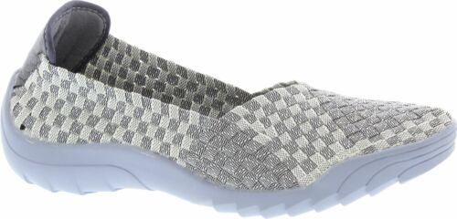 Adesso A5284 Caitlin marbre Fuzz gris élastique Full Slip On Chaussures