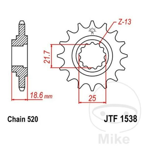 JT Front Sprocket 14T 520 Pitch JTF1538.14 Kawasaki Z 750 J 2004