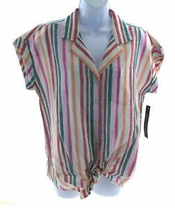 Unique-Spectrum-Womens-Button-Up-Multi-Color-Striped-Top-Cap-Sleeve-Tie-Front
