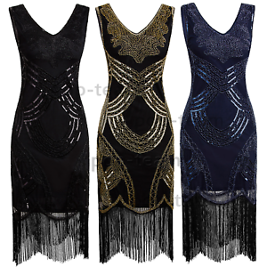 Vintage 1920s Flapper Gatsby Cocktail Dress Evening Prom Formal Party Dresses