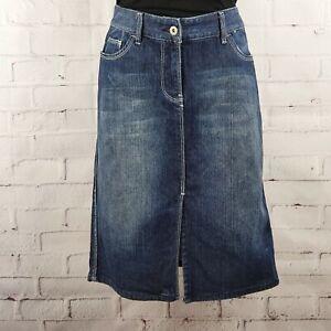 Portmans-Women-039-s-Blue-Denim-Straight-Skirt-Size-10-Front-Split-Pockets-Casual
